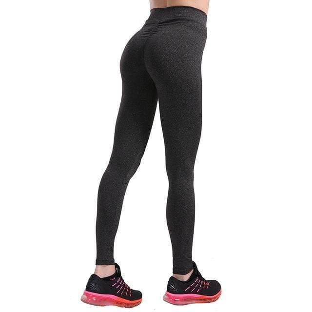 Dunkelgrau Hohe Taille Stretch Schlank Sports Yoga Push Up Leggings Damen Mode