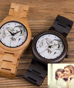 Custom Engraved Photo Wood Watch