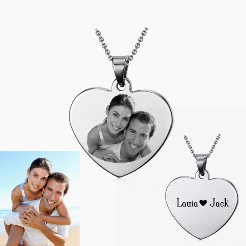 Customize Photo Necklace Heart Shape