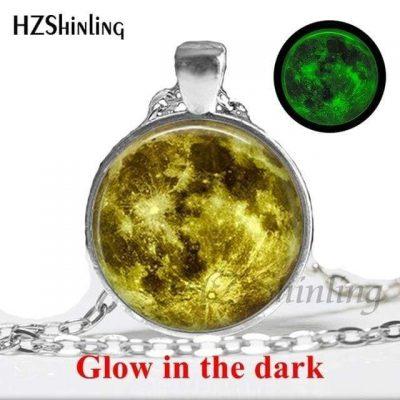 Elegant Glow In The Dark Full Moon Necklace