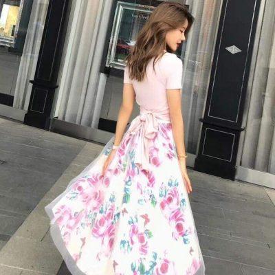 Elegant Short Sleeve Long Dress