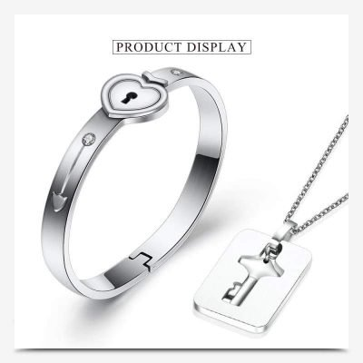 Heart Lock Bracelet & Key Necklace Set