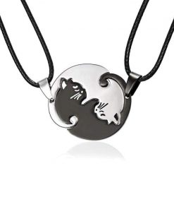 Yin Yang Couples Cat Pendant Necklace