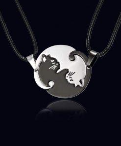 Yin Yang Couples Cat Pendant Necklace