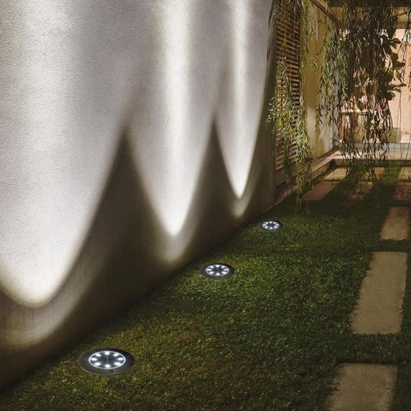 Hover Image to Zoom Solar Powered Stainless Steel Outdoor Integrated LED Super Bright In-Ground Path Disk Lights