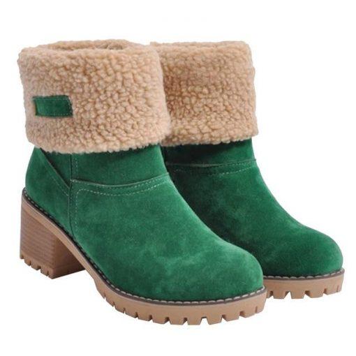 Snow Boot Warm Chunky Heel Boots