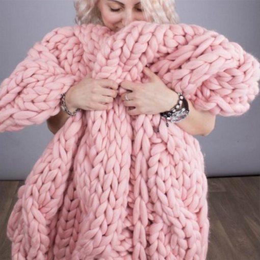 Giant Super Chunky Knit Wool Blanket