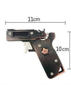 Mini Folding Rubber Band Gun Stainless Steel Launcher Toy Keychain