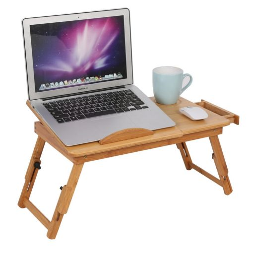 Portable Bamboo Laptop Desk Table Folding with Drawer