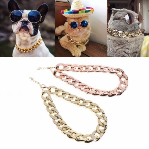 Thick Gold Cuban Chain Safety Collar For Pets
