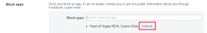 Unblock in Facebook settings