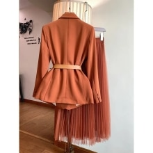 מעיל חליפת קפה + חצאית רשת שני חלקים חליפה אלגנטית