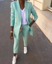 חליפת מכנסיים מנטה כפולות Custom Made