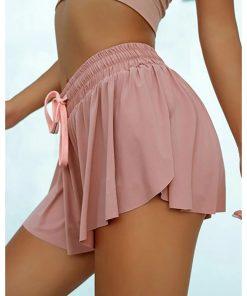 מכנסי קיץ ריצה נשים 2 ב 1 מכנסי כושר מכנסי ספורט רופפים