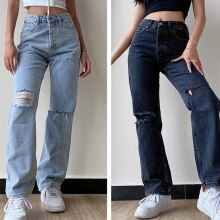 מכנסיים ג'ינס נשים קרעים