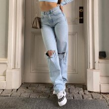 ג'ינס נשים Loose Fit קרעים מכותנה